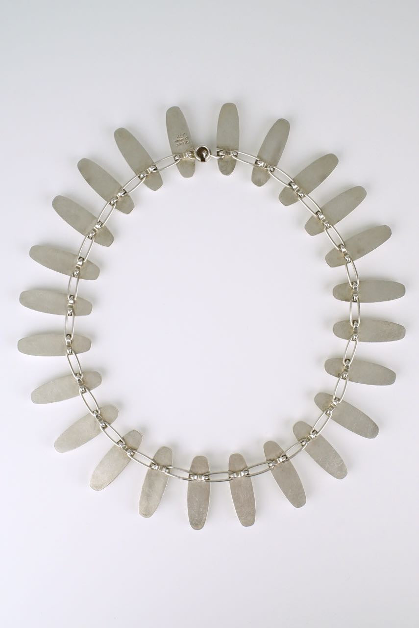 Danish bullet link silver necklace