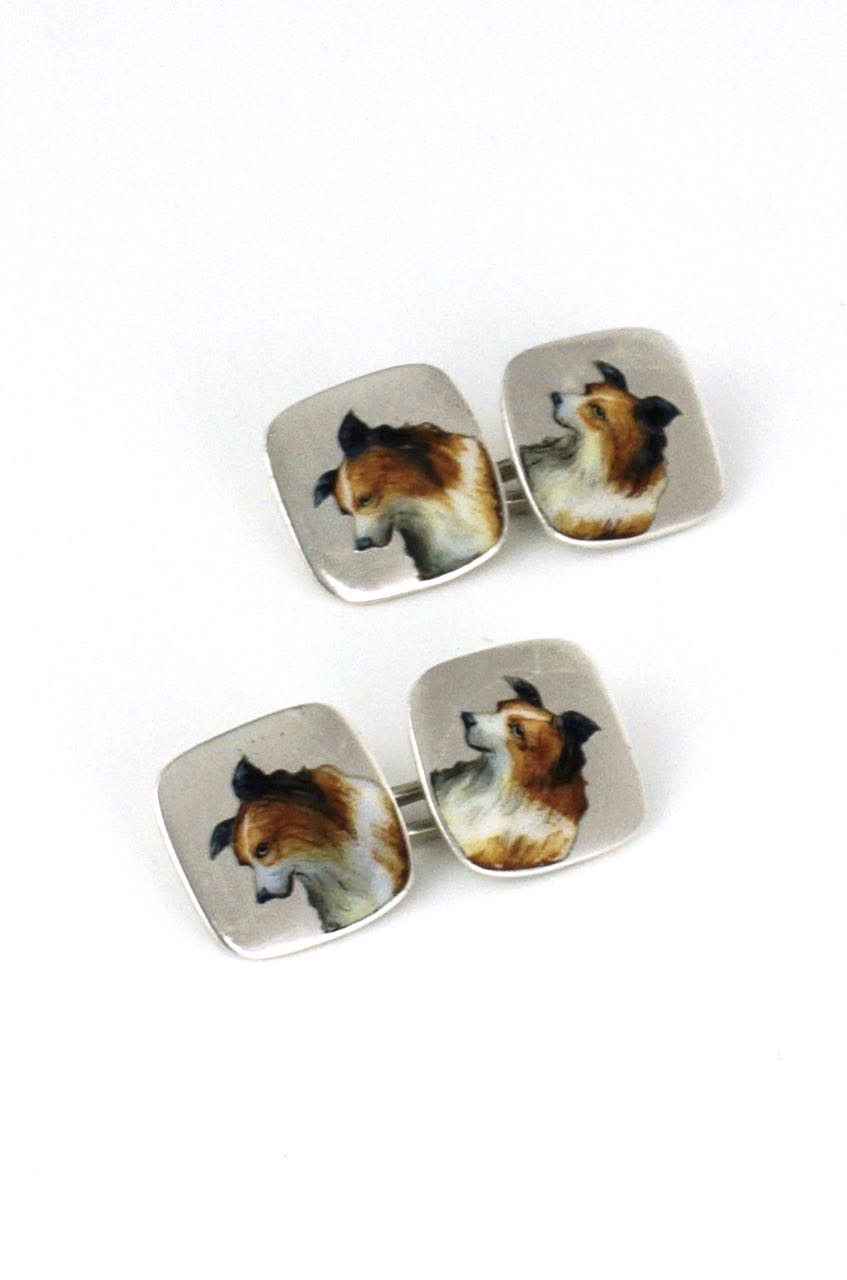Solid silver double fronted Collie dog enamel cufflinks