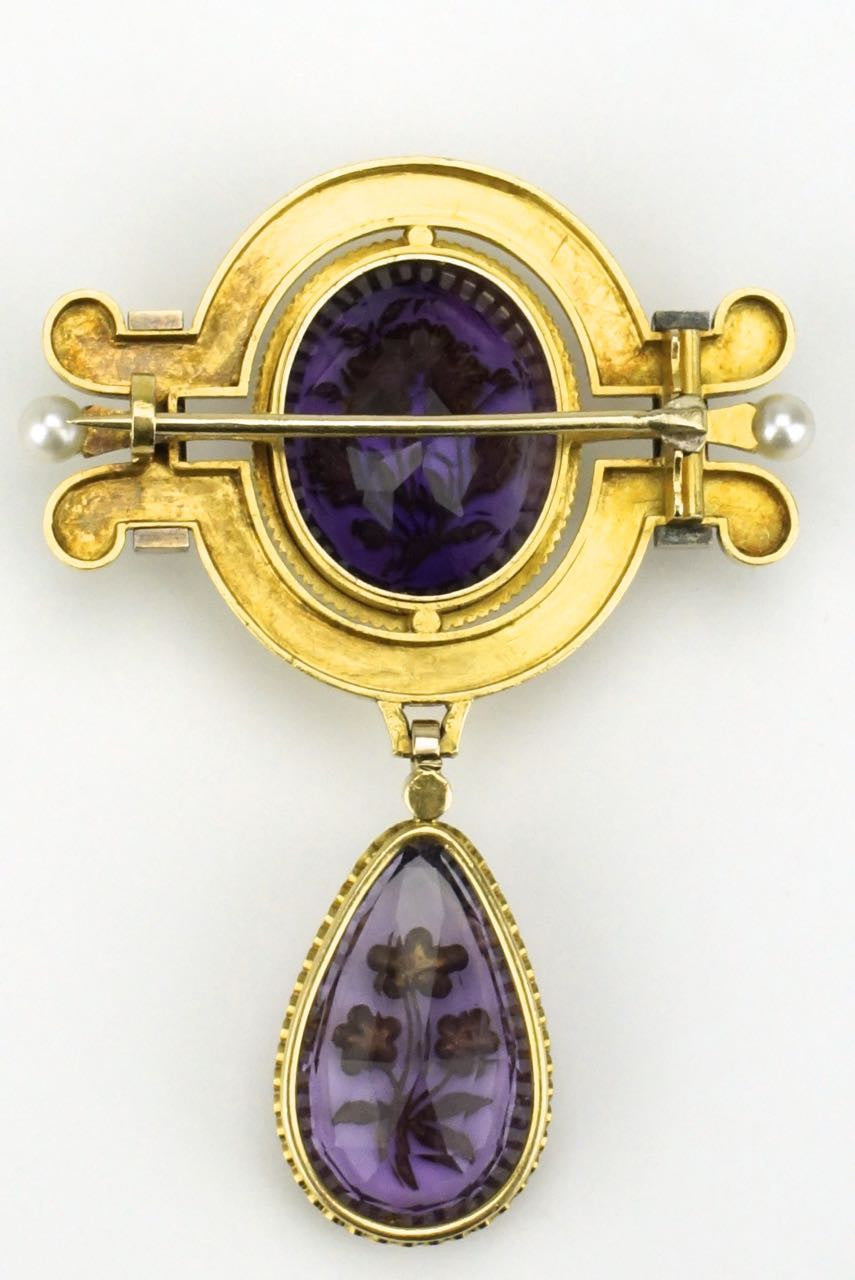 Victorian amethyst diamond and pearl brooch