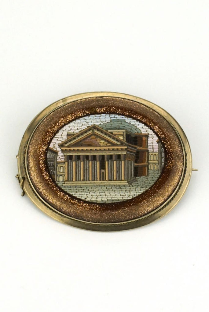 Victorian micro mosaic and gold brooch