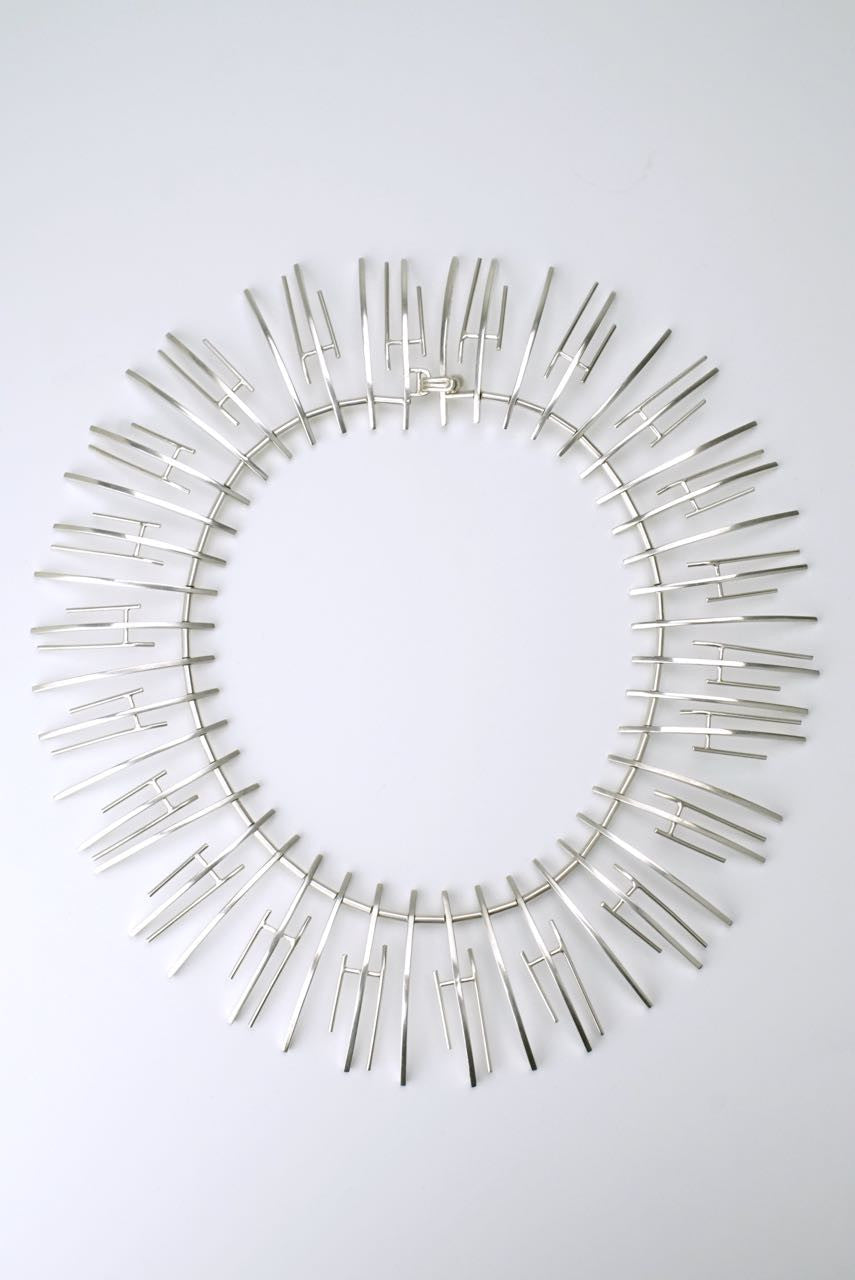 Vintage Bent Knudsen silver fringe necklace - design 197