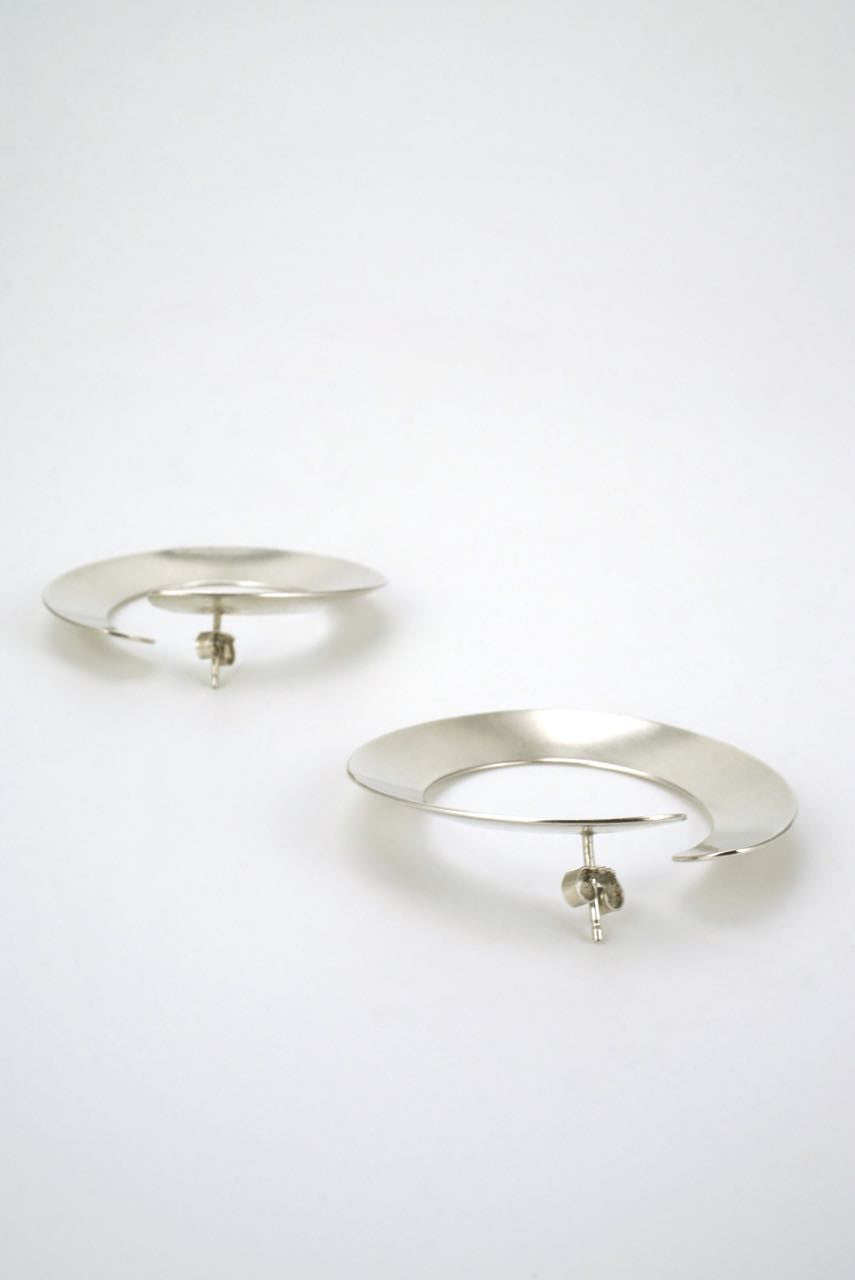 Hans Hansen silver large hoop earrings 1970s