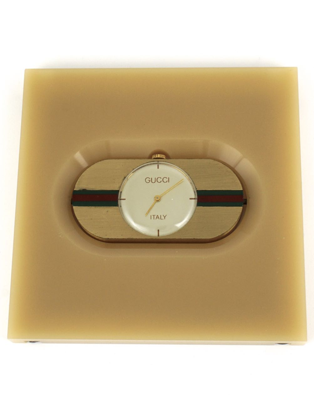 Vintage Gucci lucite and brass travel clock