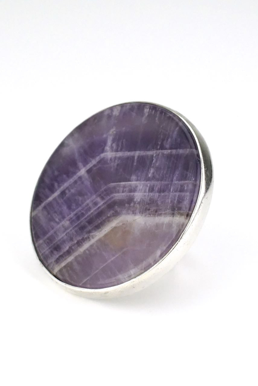 Bent Knudsen large silver amethyst disc ring - design 209