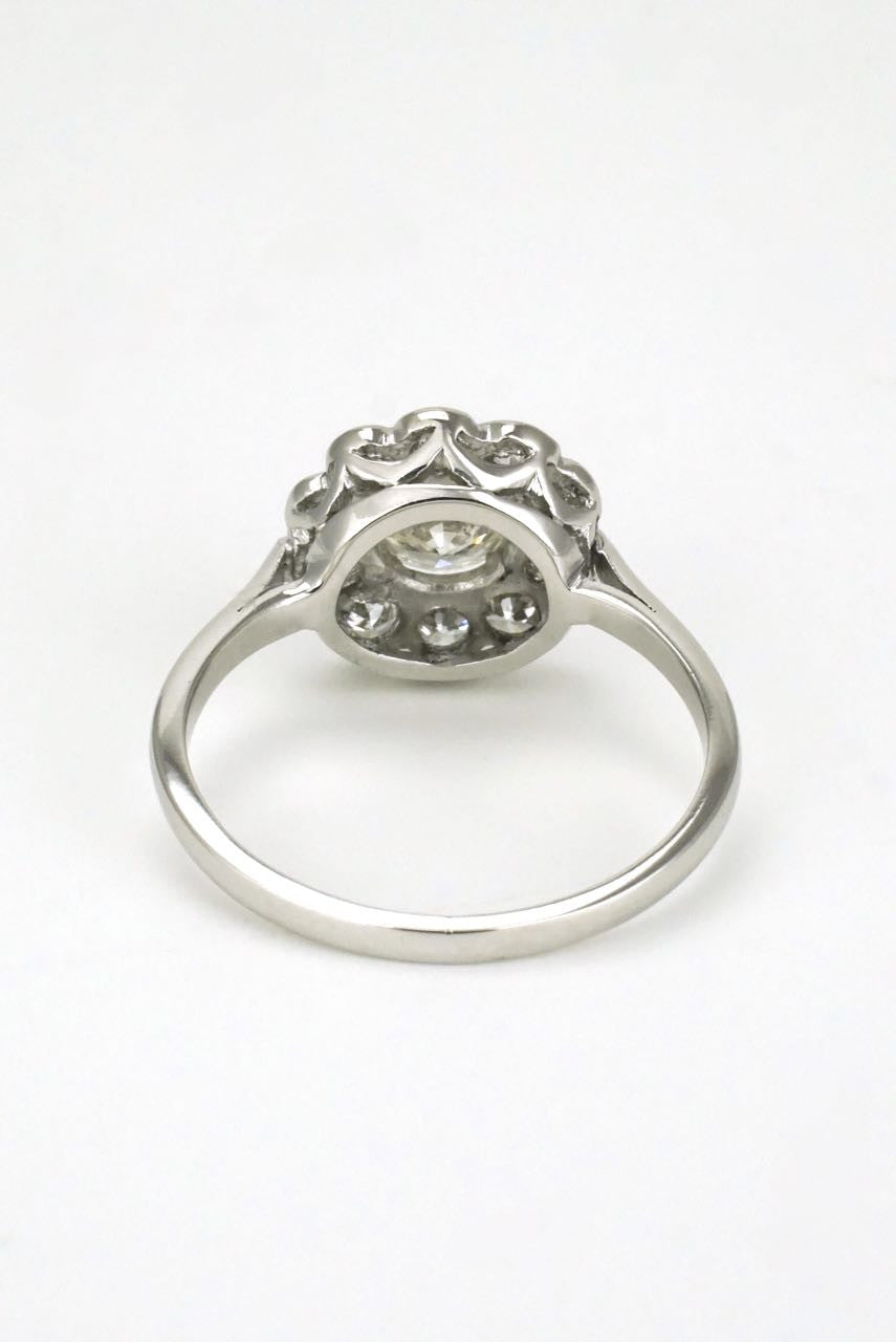 18k white gold diamond daisy cluster ring 1930s