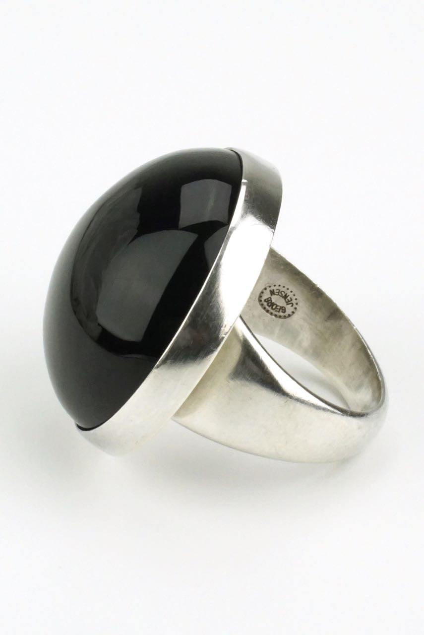 Georg Jensen silver onyx ring - design 90C
