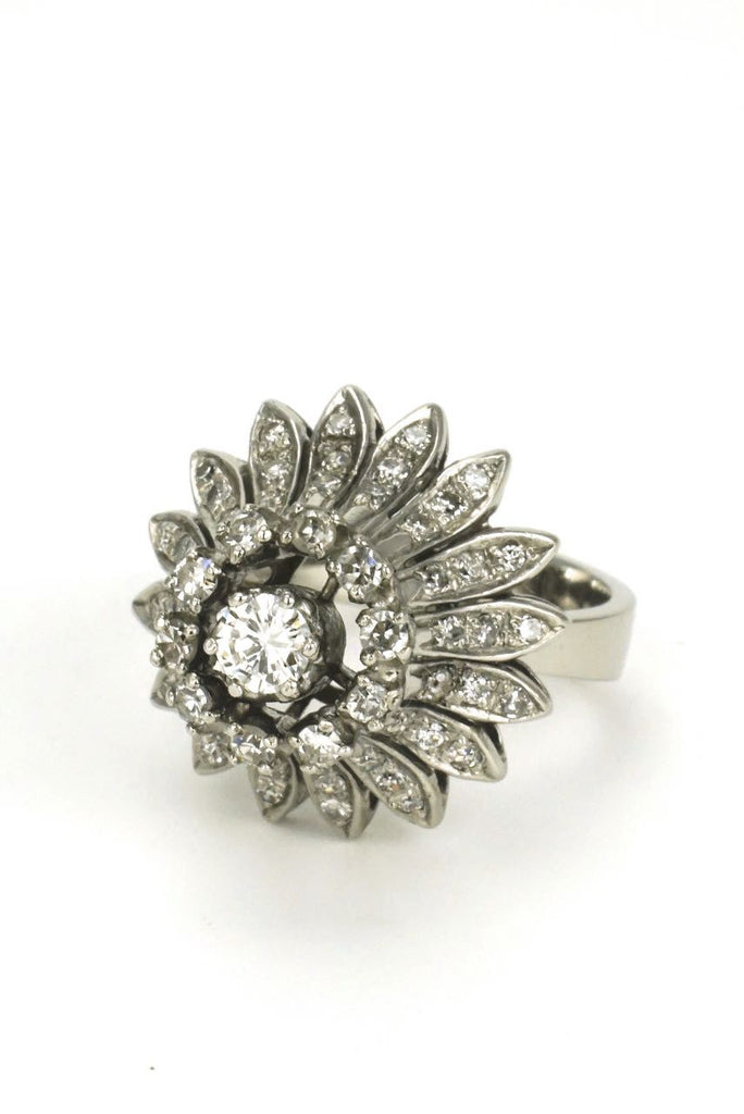 Vintage 1960s Fab Silver and 18k Gold Diamond Daisy Flower Ring