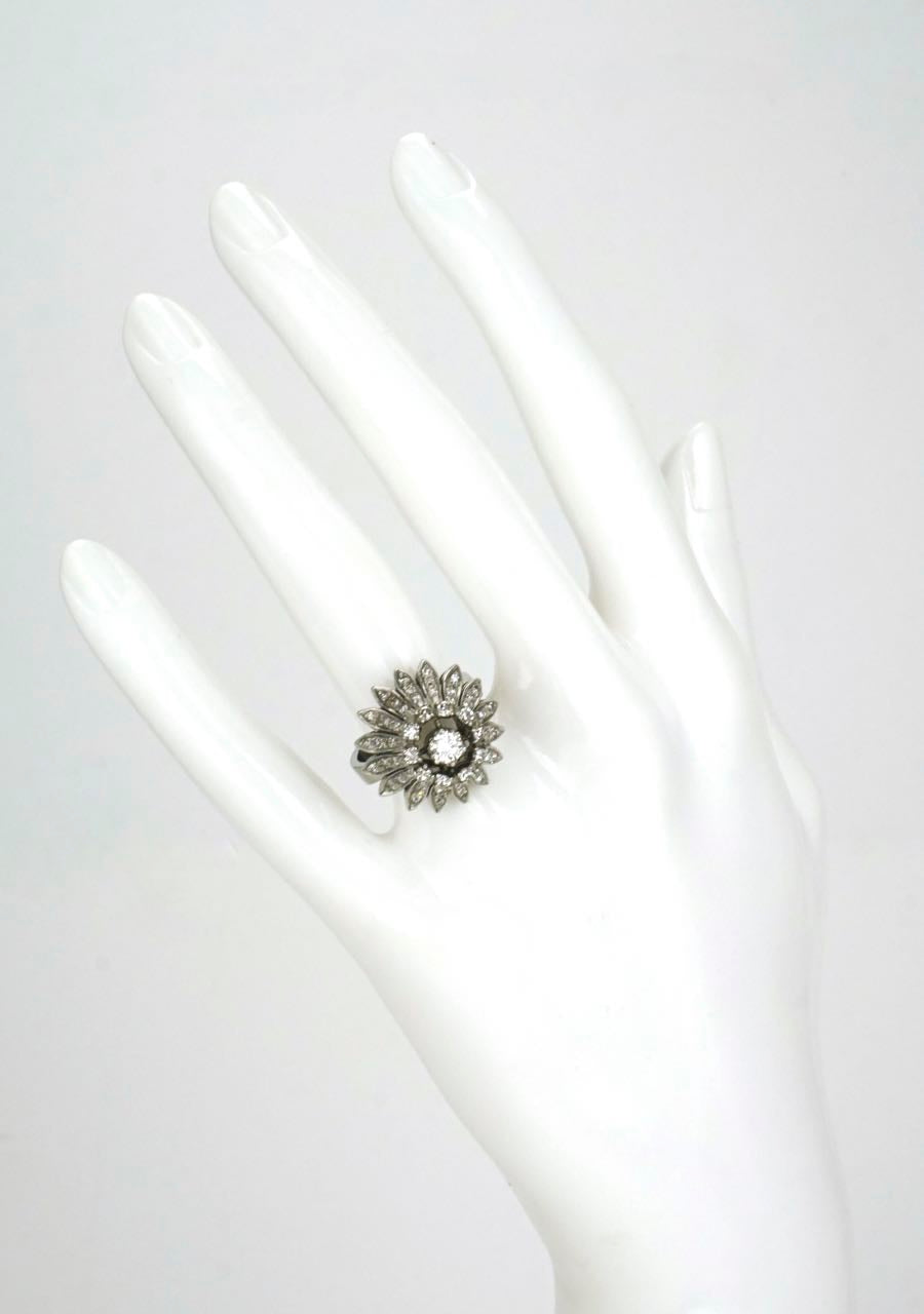 1960s Fab Silver and 18k Gold Diamond Daisy Flower Ring