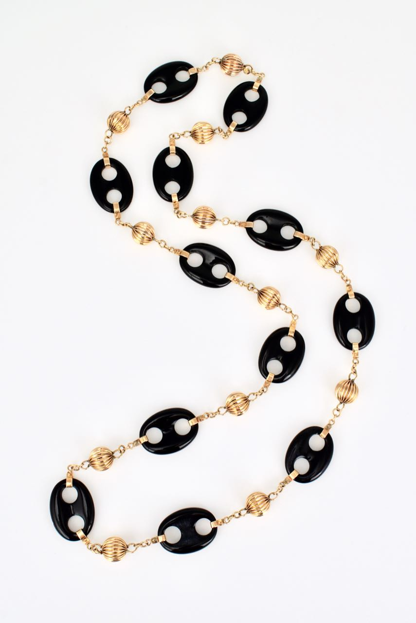 Vintage 14k Yellow Gold and Onyx Mariners Link Necklace 1960s