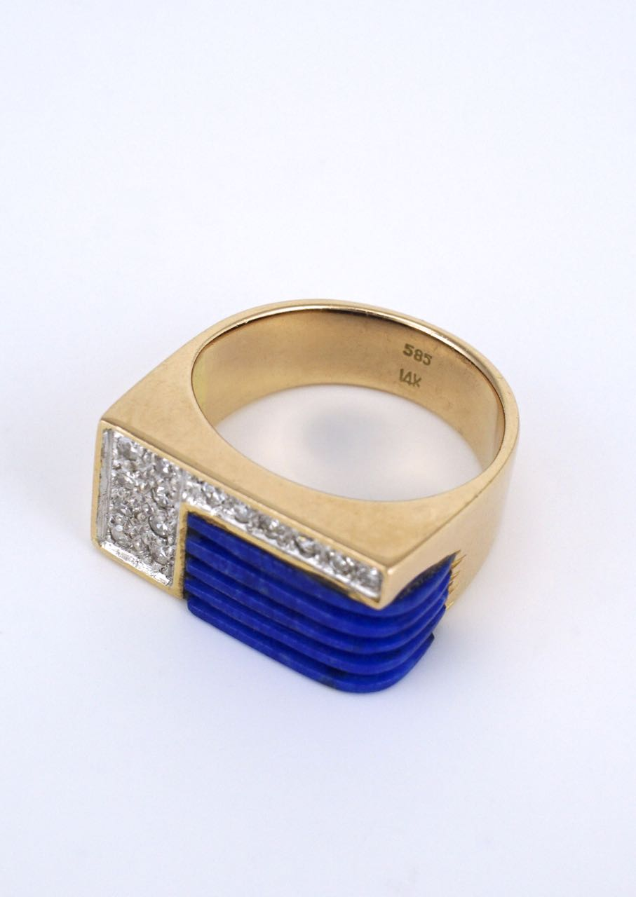 Vintage Gold Lapis and Diamond Dress Signet Ring 1970s