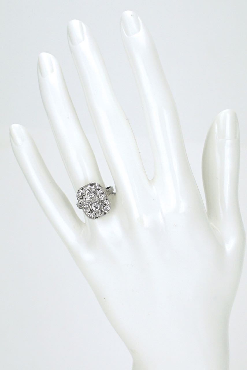 Art Deco 18k white gold and diamond plaque ring 1930s