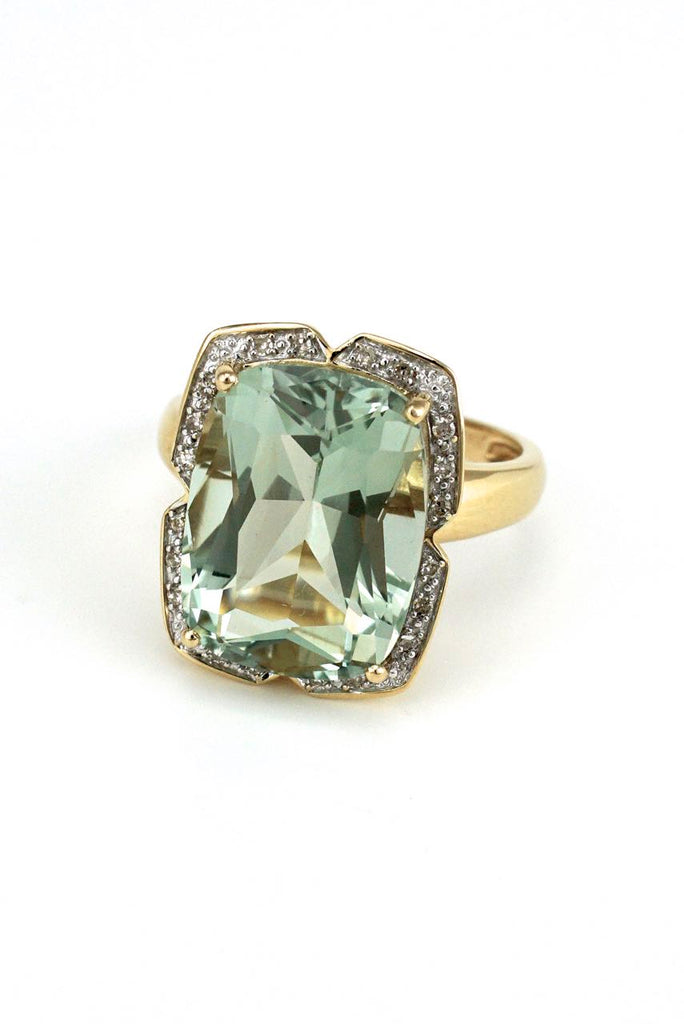 Vintage 14k Yellow Gold Diamond and Green Quartz Ring