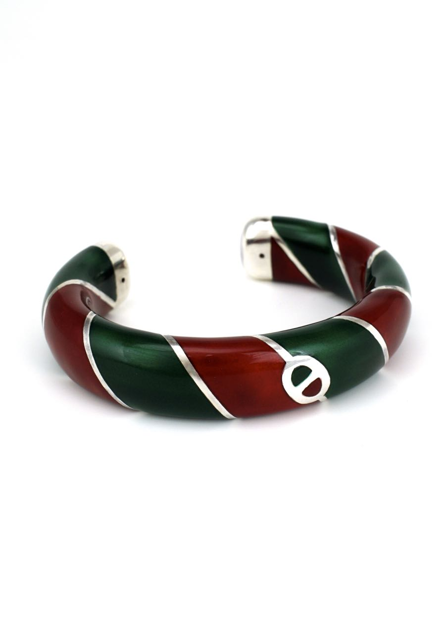 Vintage Gucci Solid Silver Red and Green Enamel Cuff 1980s