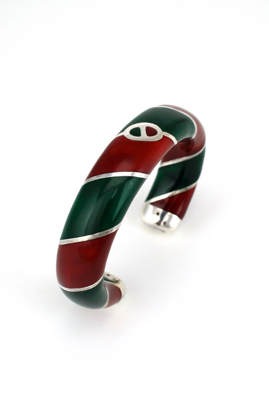 80's Gucci solid silver red and green enamel cuff