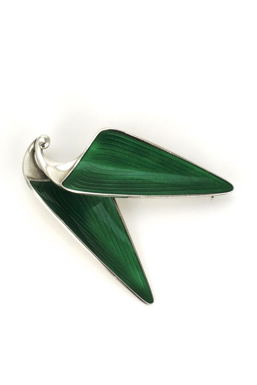 Norwegian silver and green enamel double leaf brooch 1960s