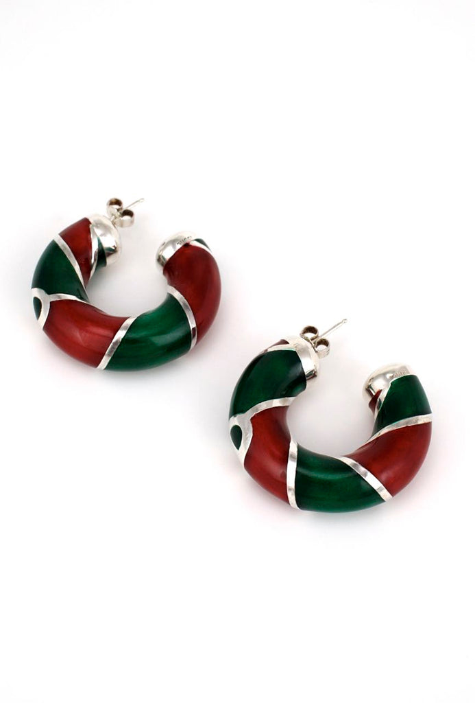 Vintage Gucci Sterling silver red and green enamel hoop earrings 1980s