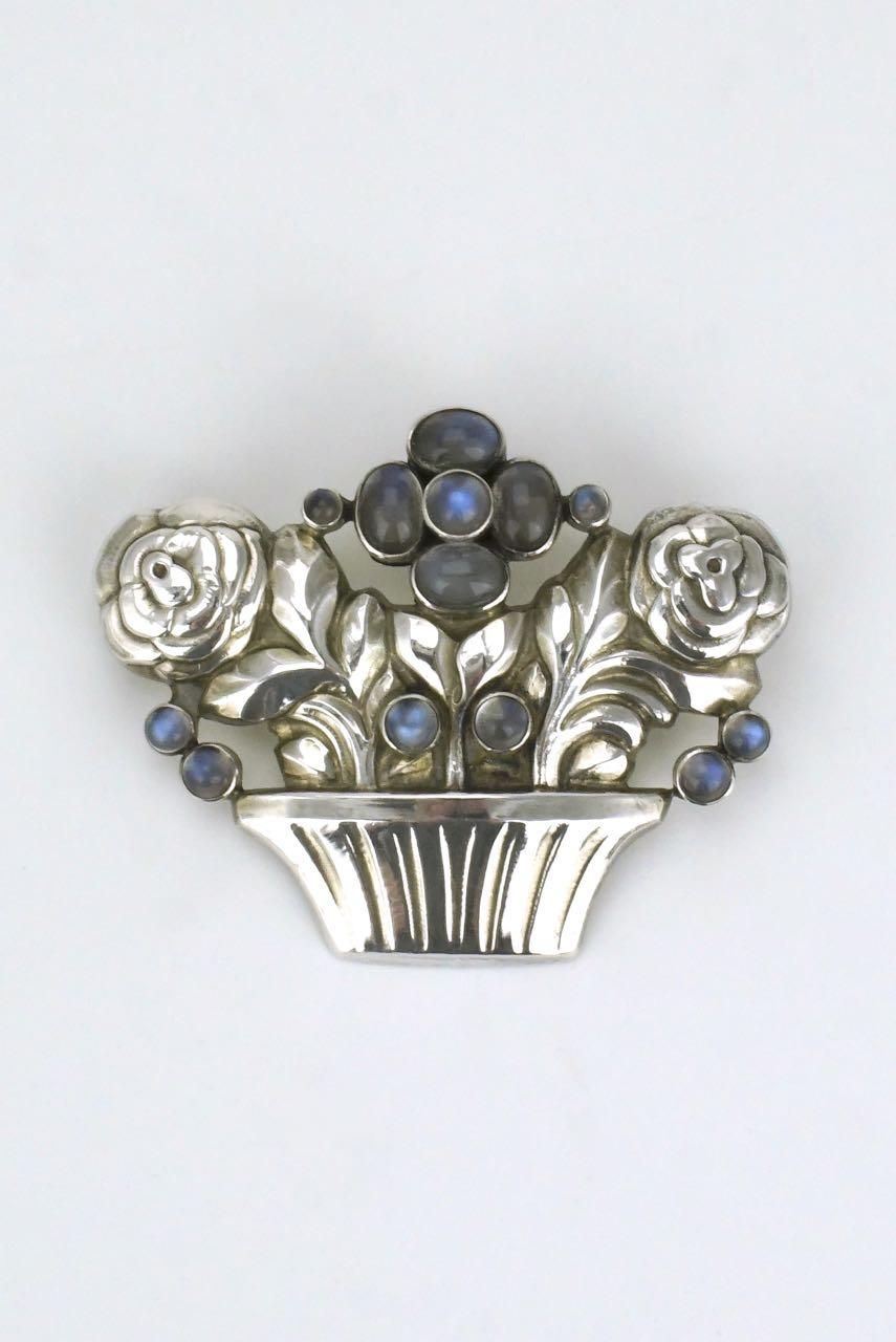 Georg Jensen silver moonstone basket of flowers brooch - design 67