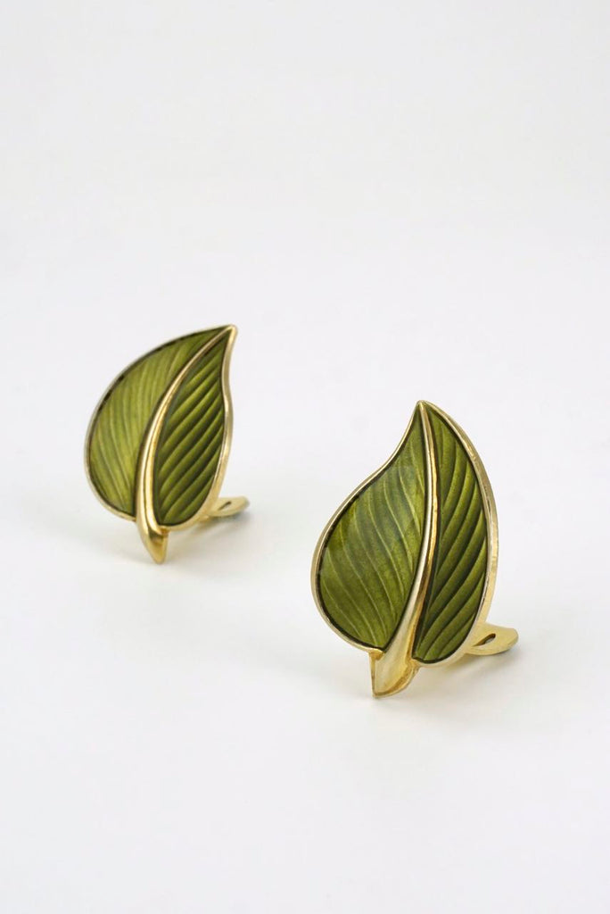 Norwegian silver and green enamel modernist leaf clip earrings 1950s
