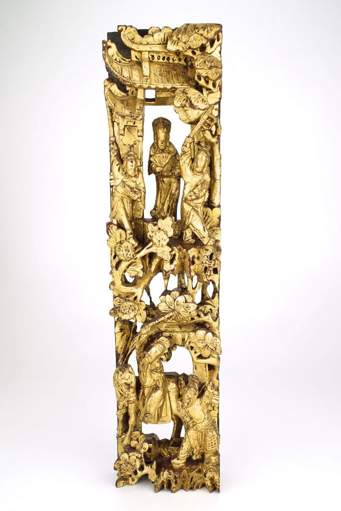 Chinese gilt carved wooden panel