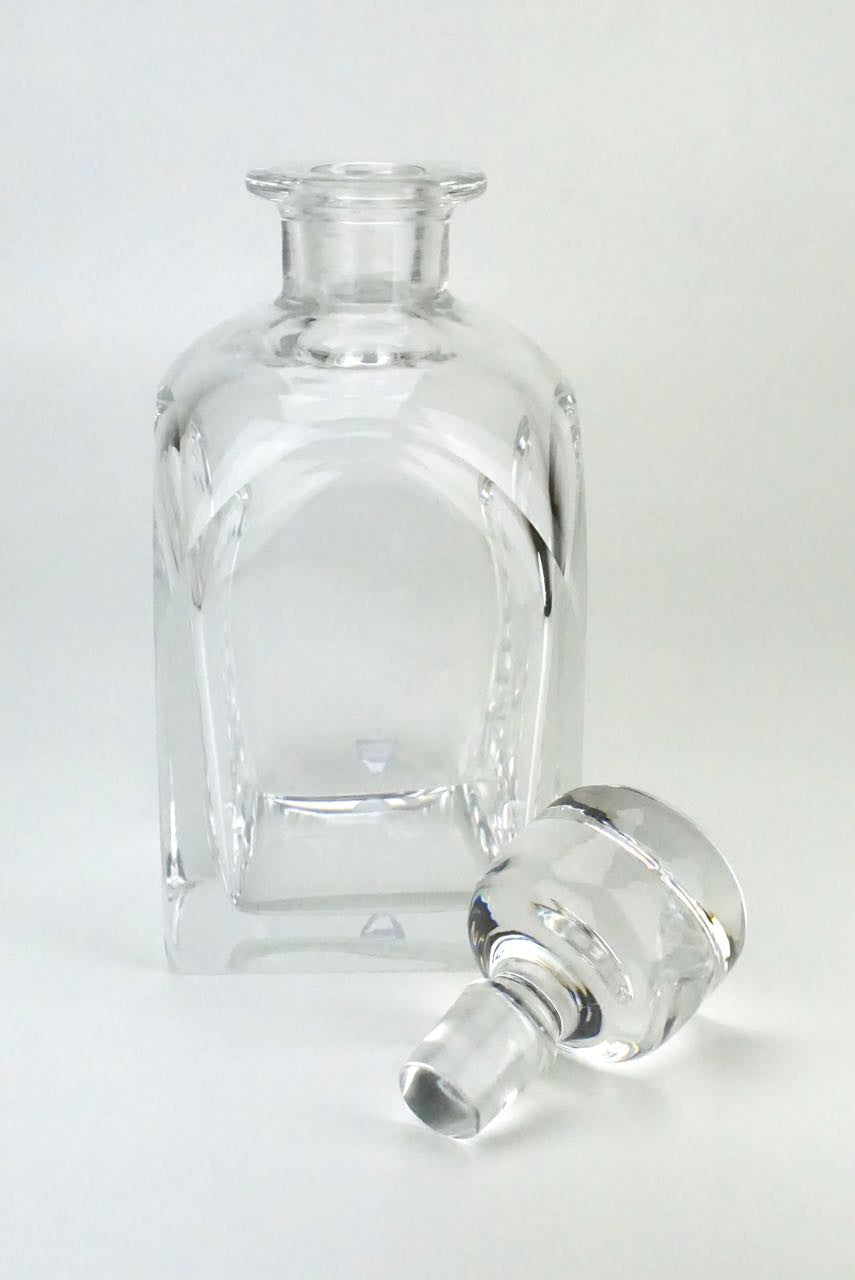 Square Orrefors clear crystal decanter - Olle Alberius