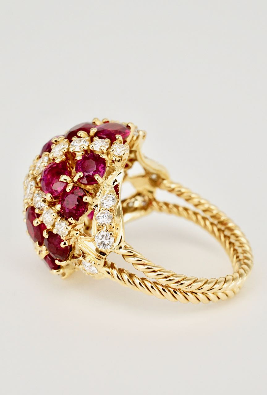 Vintage 18K Yellow Gold Ruby Diamond Bombe Ring 1970s