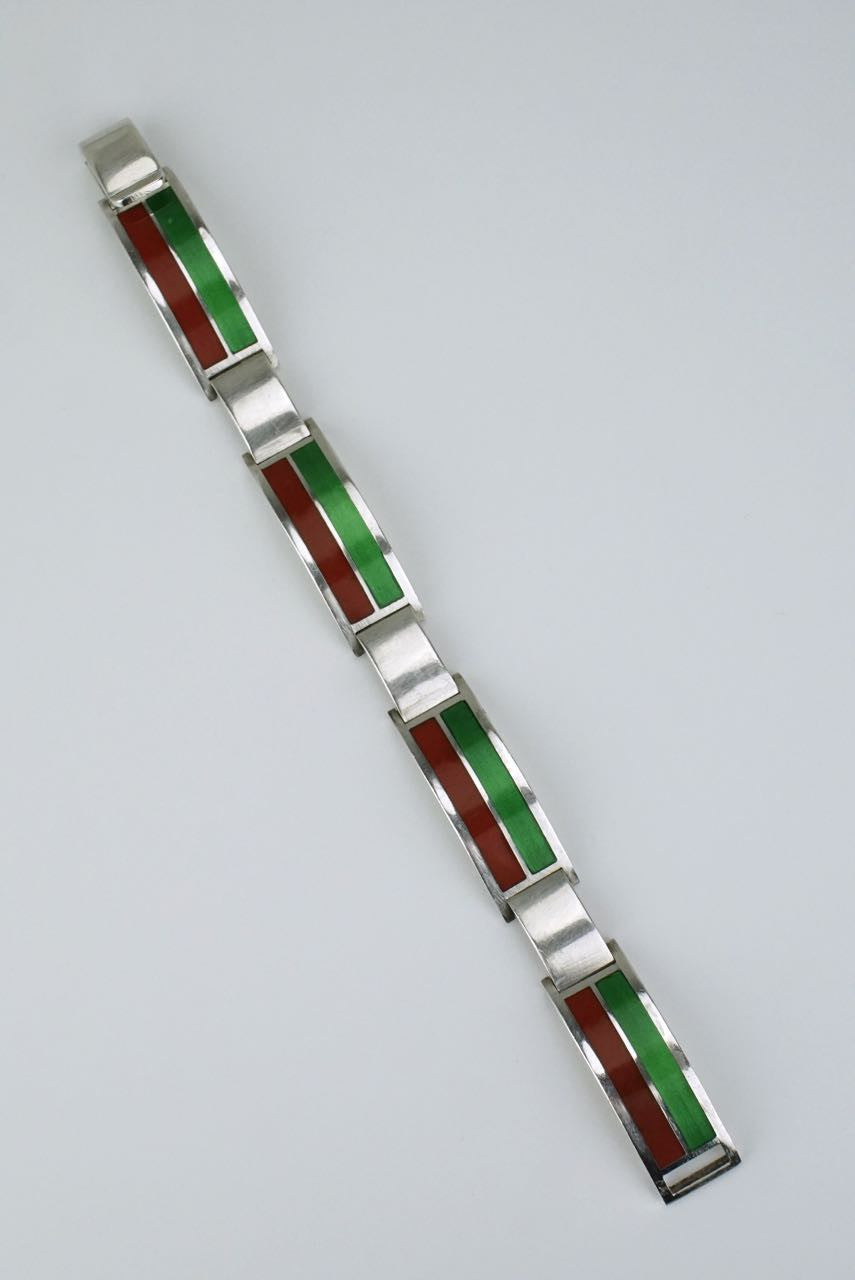 Gucci silver red and green enamel bracelet