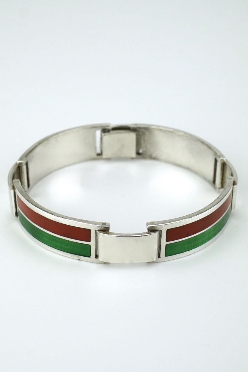 76edcbee0 Gucci silver red and green enamel bracelet – antiques-art-design
