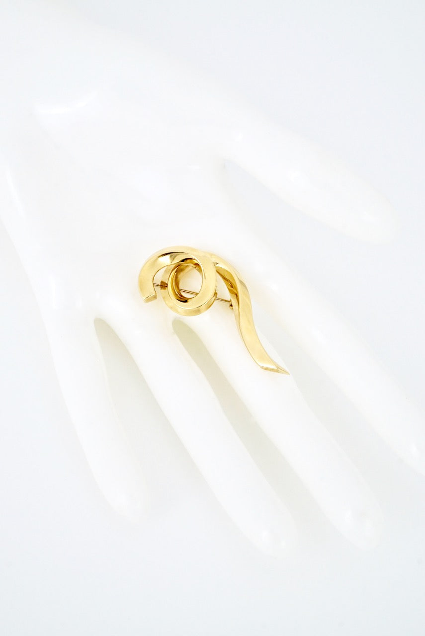 Vintage Tiffany 18k Yellow Gold Spiral Brooch