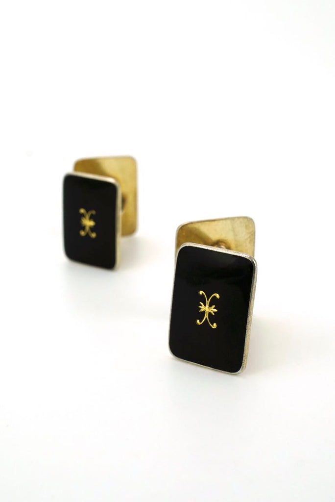 Norwegian silver and black enamel double fronted cufflinks 1960s