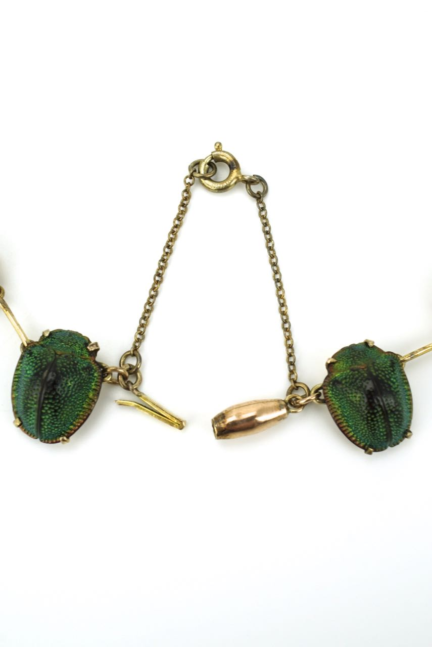 Victorian 9k gold Scarab Beetle necklace and earrings