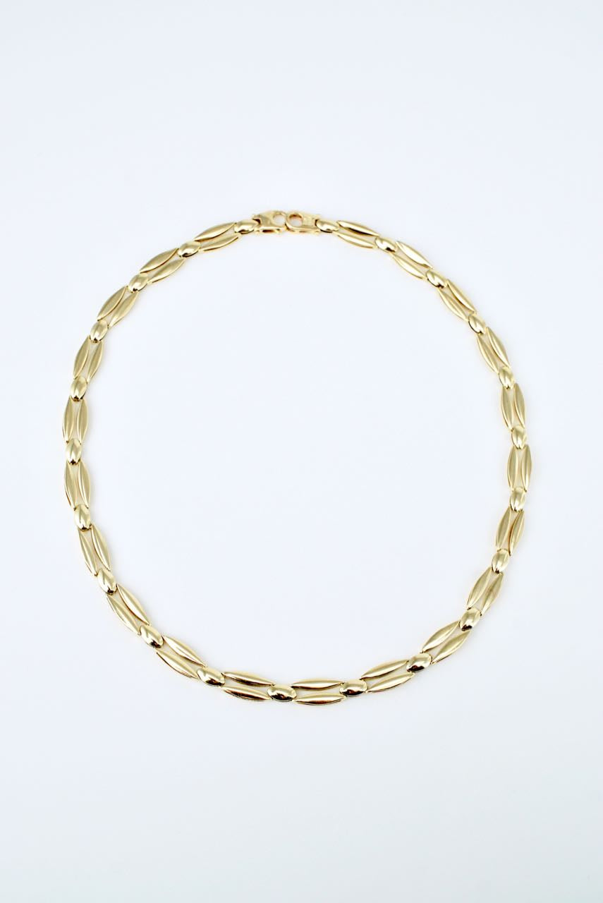 Vintage Italian 14k Yellow and White Gold Link Necklace