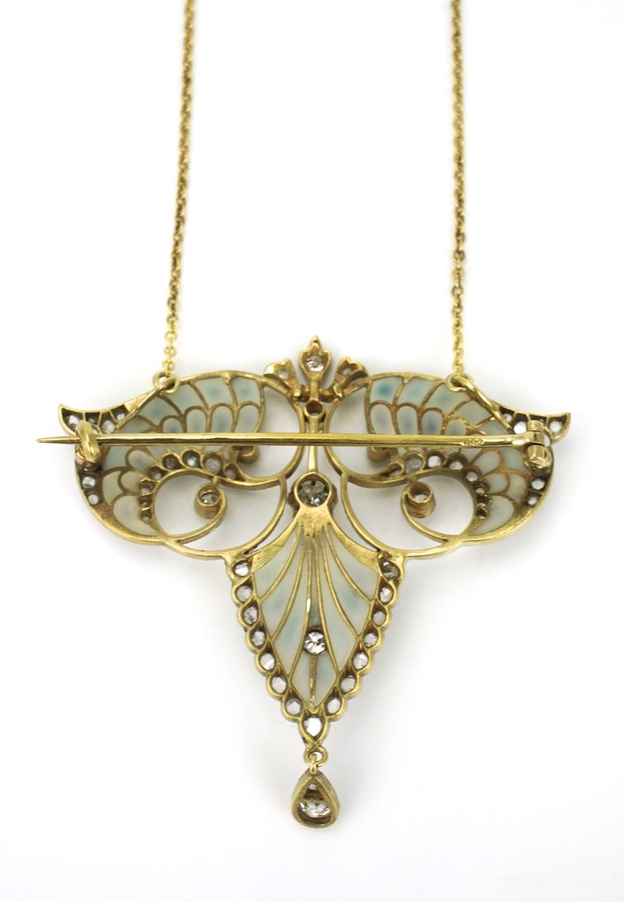 Art Nouveau 18k gold diamond and plique-à-jour brooch pendant necklace