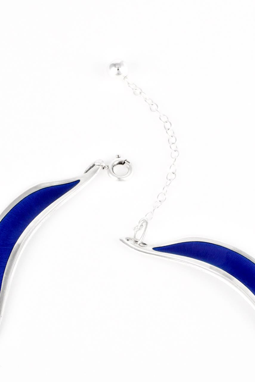 Norwegian Sterling Silver and Blue Enamel Necklace 1960s