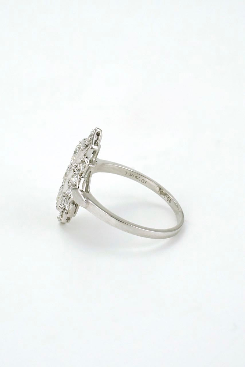 Art Deco Diamond and Platinum Lozenge Plaque Ring 1940s