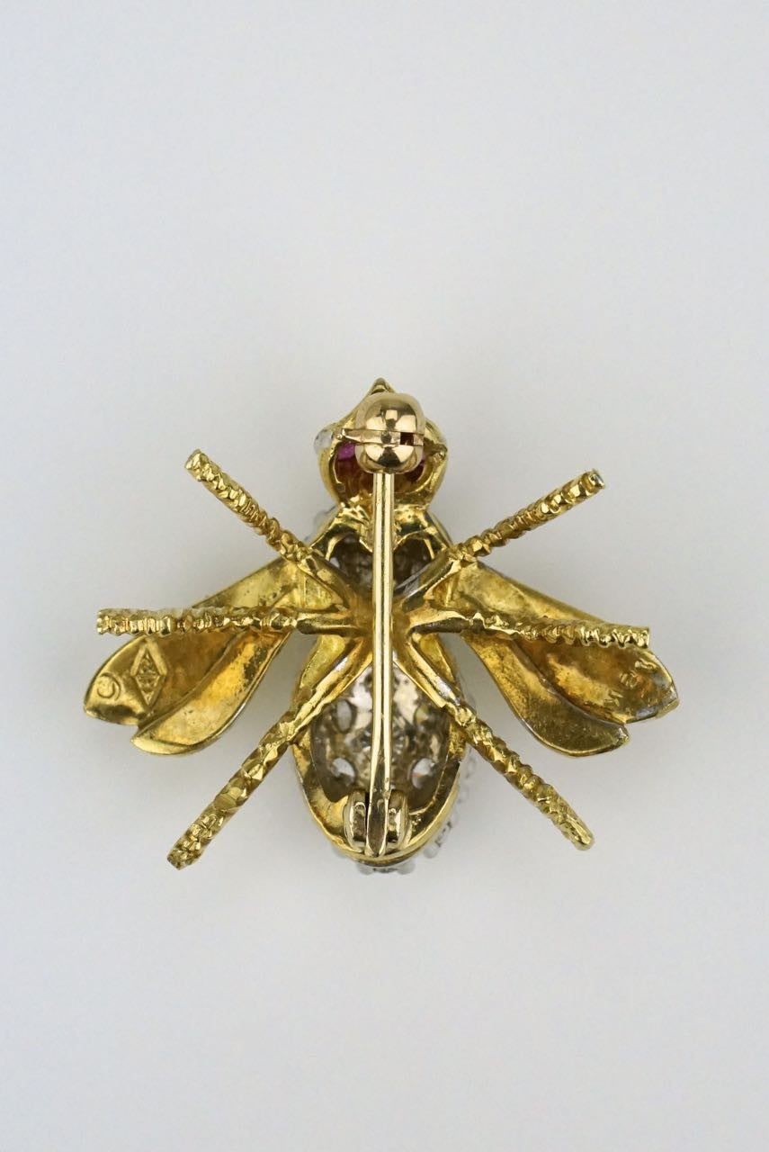 Herbert Rosenthal gold and diamond bee brooch