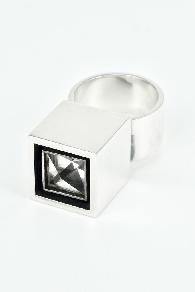 Vintage Hans Hansen Sterling Silver and Rock Crystal Box Ring 1970s