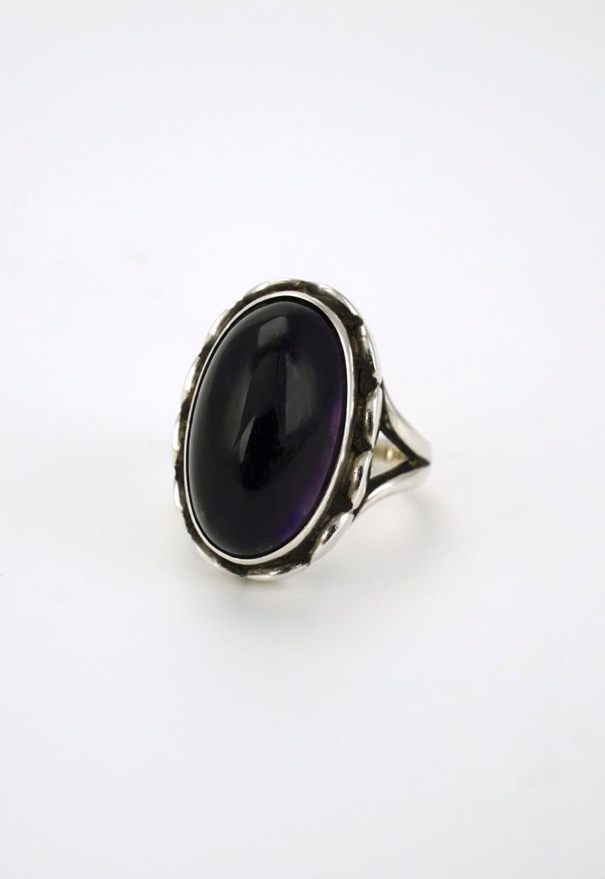 Georg Jensen solid silver amethyst ring - design 19 1980s