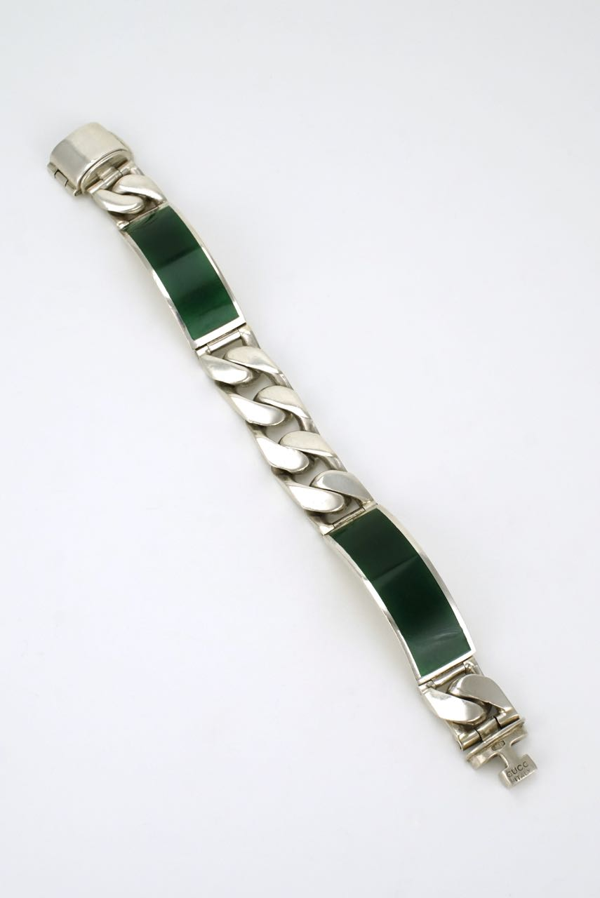 Gucci silver and green enamel panel bracelet 1960s
