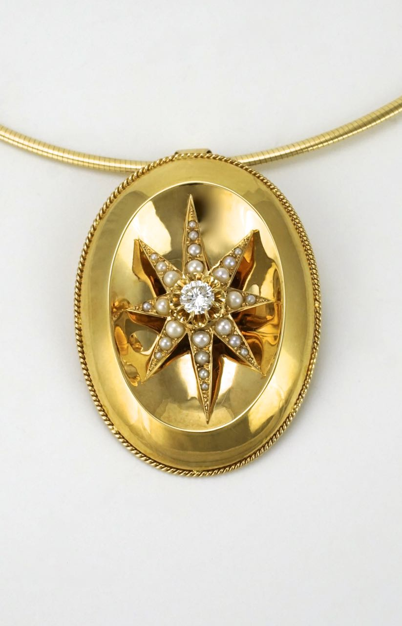 18k yellow gold, diamond and pearl oval star pendant and collier 1960s