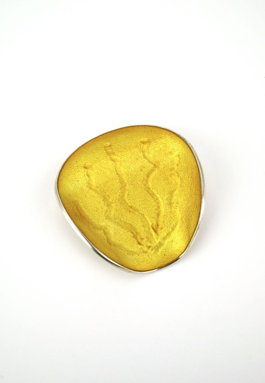Norwegian silver and yellow enamel modernist brooch Einar Modahl 1960s