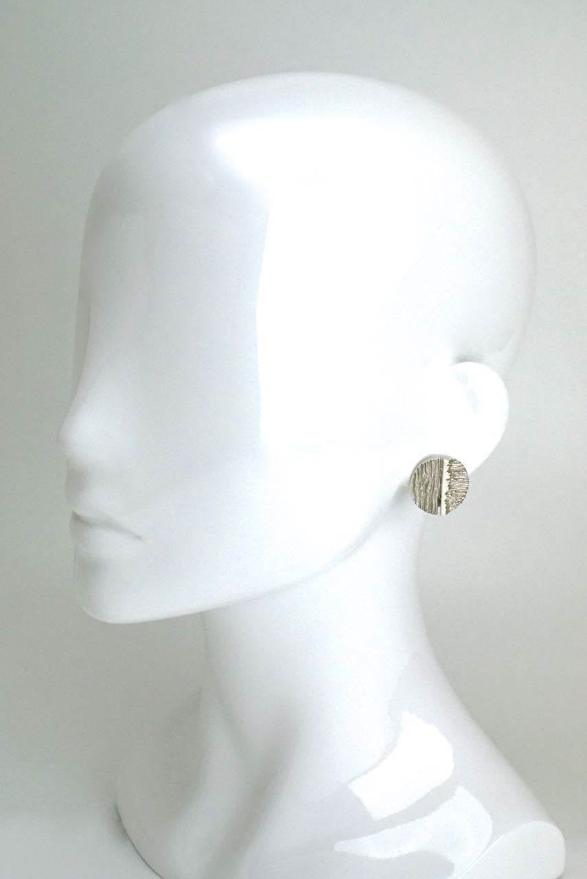 Knud Andersen silver textured clip earrings