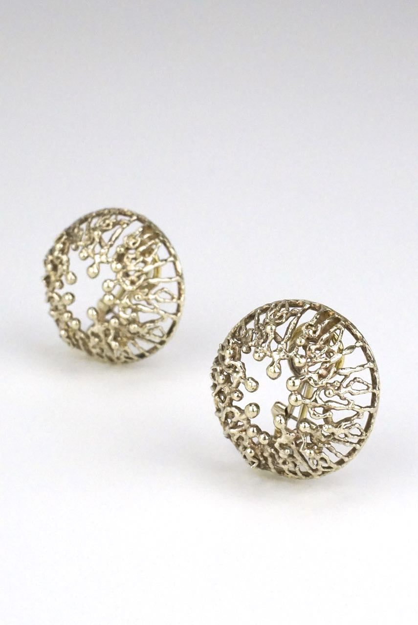 Stuart Devlin silver filigree clip earrings