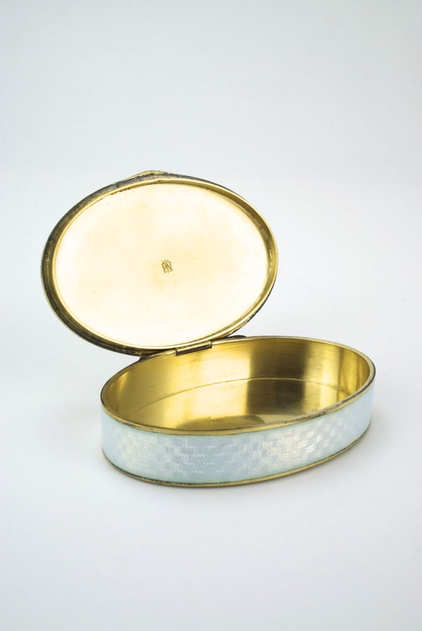 Antique Marius Hammer silver opalescent enamel oval box 1920s