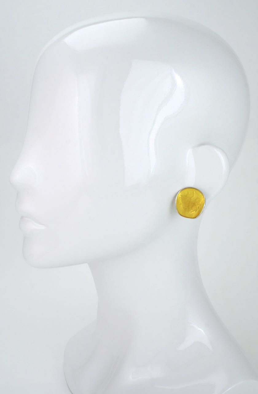 Norwegian silver and yellow vintage enamel clip earrings 1960s
