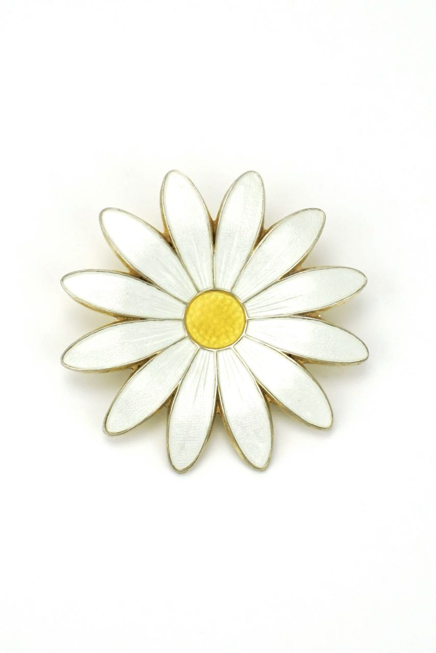 Norwegian large silver white daisy enamel brooch 1950s