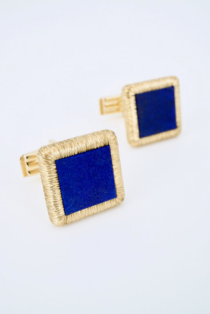 Vintage 14k Yellow Gold Lapis Lazuli Square Cufflinks 1960s