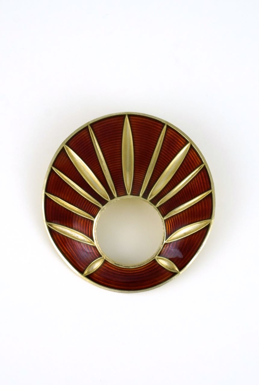 Norwegian burnt orange and gold wash enamel brooch 1950s