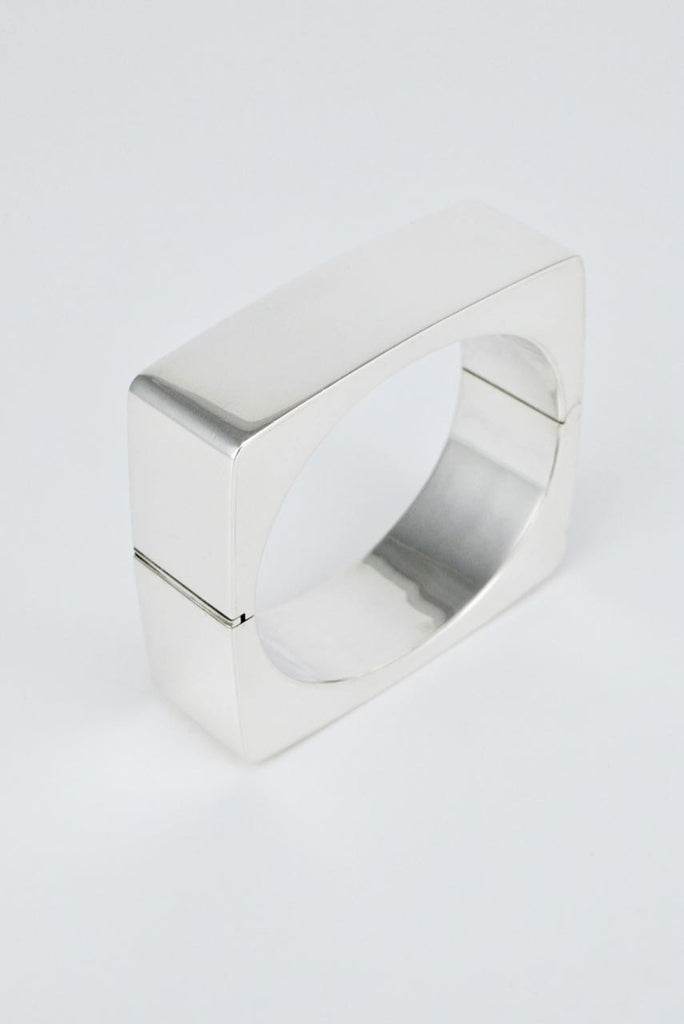 Danish Solid Silver Square Hinged Bangle