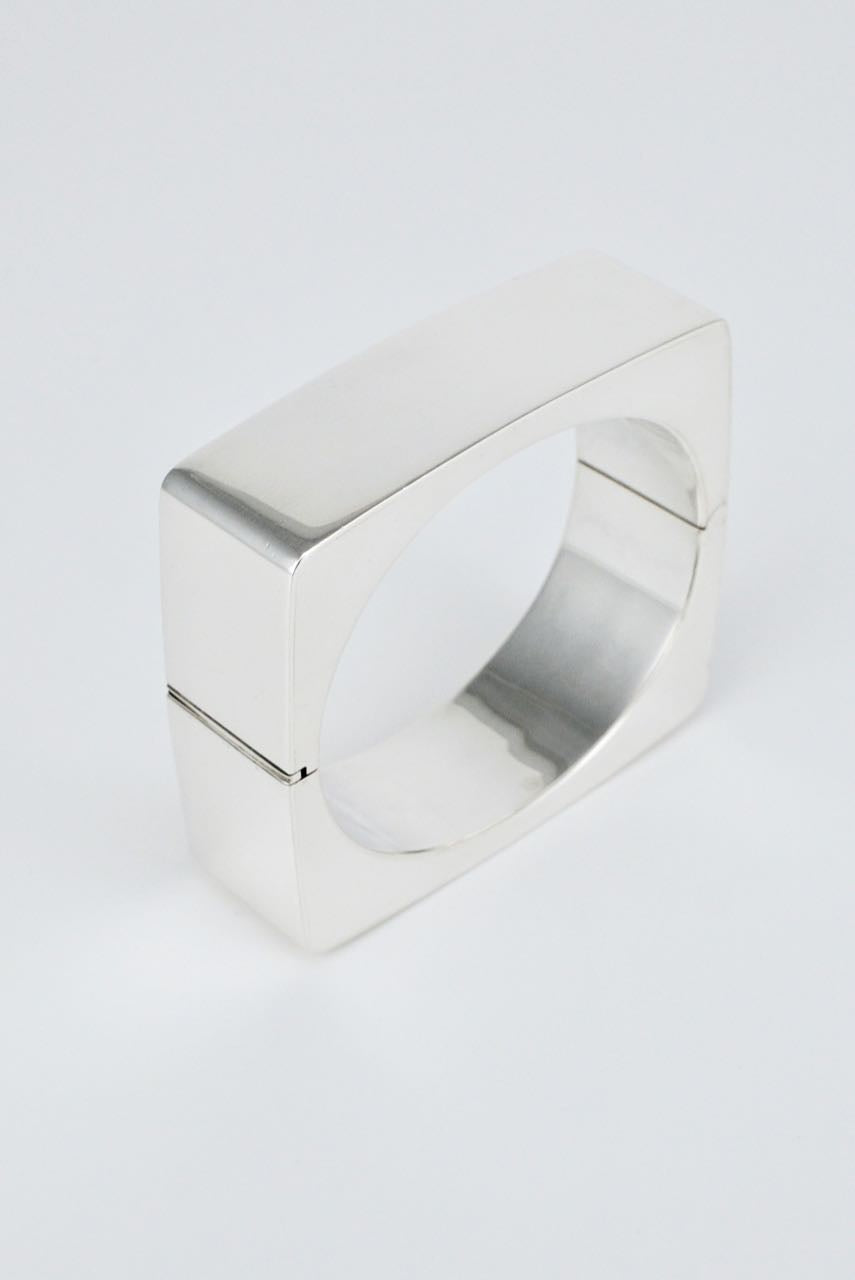 Vintage Danish Solid Silver Square Hinged Bangle