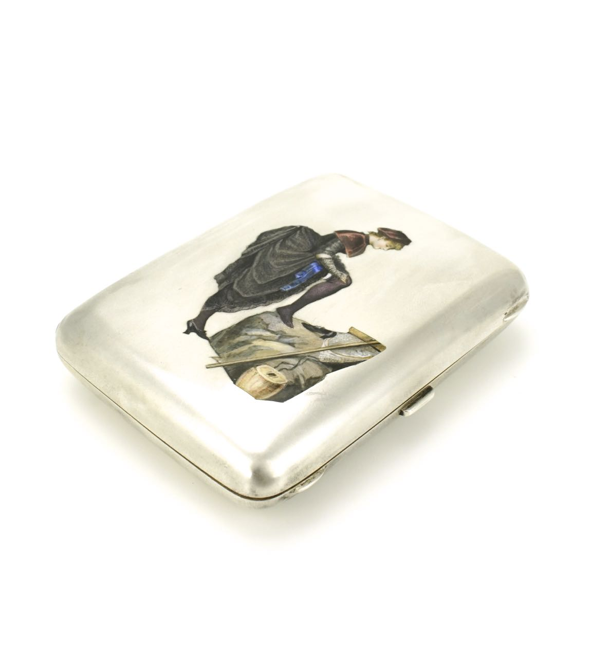 Victorian solid silver and enamel erotic case 1890s